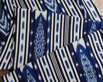 Guatemalan Ikat Blue Geometric Stripes