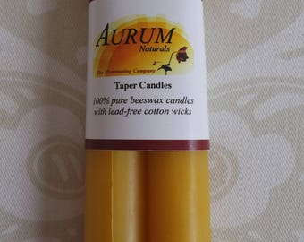"Handmade 100% Beeswax Candles: 6"" taper pair, primitive style"