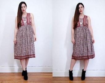 Vintage Indian Cotton Gauze Dress Boho Dress Hippie Dress Ethnic Floral Gauze Cotton Dress 70s