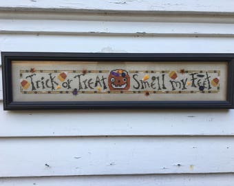 """Vintage Halloween Cross Stitch Sampler 21"""" by 5"""" Bent Creek Finished Piece Professional Frame Little Buttons Trick or Treat Smell My Feet"""