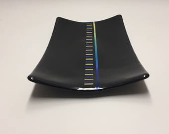 Fused Glass Serving Platter, Black Serving Tray, Black Fused Glass Rectangular Dish, Fused Dichroic Glass