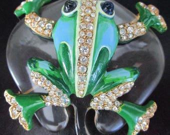 TRIFARI Reproduction RARE Frog on Lily Pad Pin