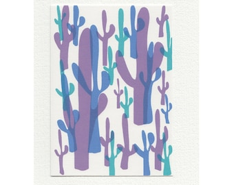 Cactus Card // Cacti Print Greetings Card // Succulent Unique Notecard