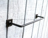 Hand Forged Wrought Iron Metal Steel Simple Modern Industrial Style Base Towel Holder Bathroom and Kitchen Bar by VinTin (Item # T-206)