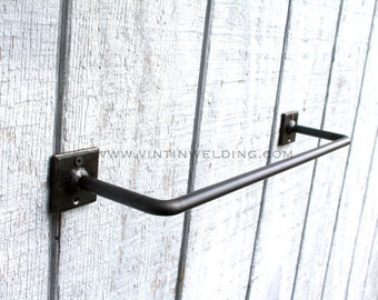 Hand Forged Iron Metal Steel Simple Modern Industrial Style Base Towel Holder Bathroom and Kitchen Bar by VinTin (Item # T-206)