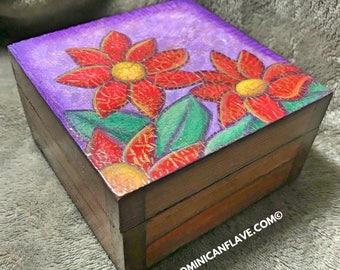 Flowers wooden box