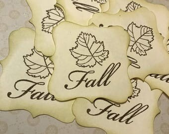 Fall Leaves Stamped Square Brackets -12 2.5 Inches