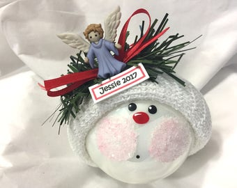 CHRISTMAS Angel Ornaments Hand Painted White Glass Handmade Personalized Themed by Townsend Custom Gifts - BR