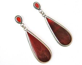 Vintage art deco style Sterling silver carnelian drop earrings