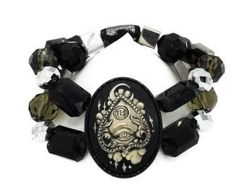 Gothic Ouija Planchette Black Beaded Glass Cameo Bracelet