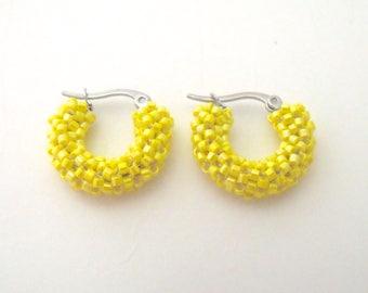Bright yellow hoop earrings | small yellow earrings | beaded yellow jewelry | glass woven beaded hoops
