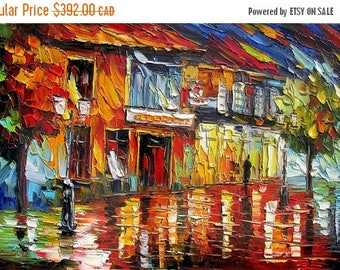 70% off Original Oil Cityscape painting Palette knife on canvas Night Town Red Made Order Reflection Rainy Modern ready to hang gift ART Mar
