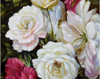 70% off ORIGINAL Oil Painting Summer Roses 36 x 23 Colorful Flower White Pink Red Purple Green Brown Realism Love  Romance Brush ART by Marc