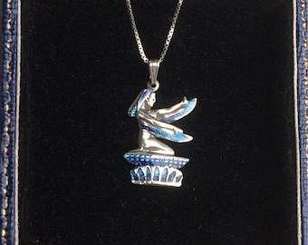 Vintage Silver Egyptian Blue Enamel Goddess Pendant