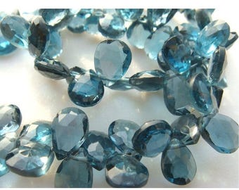 ON SALE 55% Blue Topaz - London Blue Topaz - Pear Shaped Faceted Briolettes - 5x7mm Each - 16 Pieces