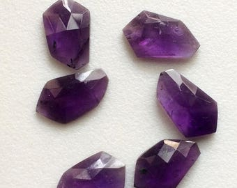 ON SALE 55% Amethyst Rose Cut, Purple Fancy Shape Flat Back Cabochons, Rose Cut Faceted Gemstones, 14-16mm, 4 Pcs