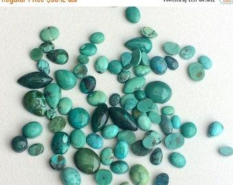 ON SALE 55% 5 Pcs Tibetan Turquoise Cabochons, Original Smooth Mix Shape Turquoise Flat Back, Natural Loose Turquoise, 5-16mm - KS3232