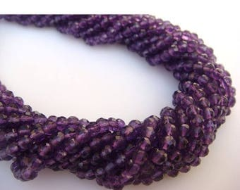 ON SALE 50% WHOLESALE 5 Strands Amethyst Rondelles Lot  - 4mm Micro Faceted Rondelles, 13 Inches Each