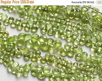 ON SALE 55% Peridot Beads, Green Peridot Faceted Heart Briolettes, Peridot Necklace, Green Peridot, 5mm To 6mm Beads, 8 Inch Strand