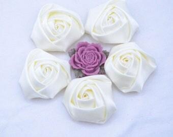 8 Ivory Flower, ribbon flower, satin flower, Satin Rose, fabric flower, fabric Rose Flower, satin ribbon rose, applique rose 45x20mm