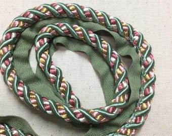 SALE four yard piece, cord green gold pinks with lip, item #27