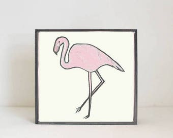 flamingo bird tropical nursery prints- tropical decor- bird print- boho nursery- jungle nursery art block nursery decor redtilestudio