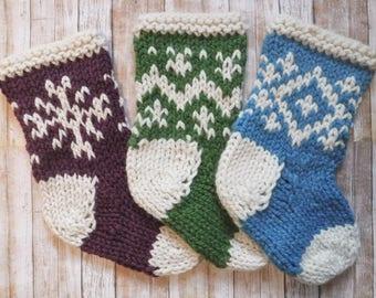 Hand Knit Fair Isle Christmas Stocking  - Chunky Wool 16 Colors - Fairisle Hand-Knit Handmade Colorful