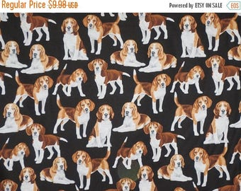 ON SALE Cute Brown and White Beagles Print on Black Pure Cotton Fabric --By the Yard
