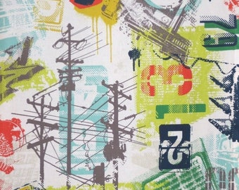 ON SALE Arty Grafic Urban Collage Print Pure Cotton Fabric--By the Yard