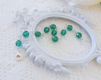 Sterling Silver Bracelet, Crystal Bracelet, Teal Bracelet, Layering Bracelet, Silver Bracelet, Beaded Bracelet, Stacking Bracelet