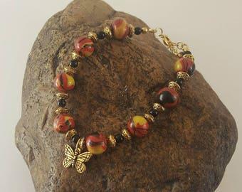 Red, yellow, orange and black bead bracelet, Polymer Clay bracelet, butterfly bracelet, Clay Jewelry, Art Jewelry, Gift Idea, Jewelry Gift