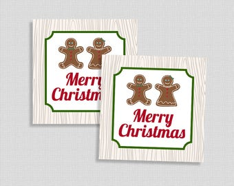Merry Christmas Tags, Gift Tags, Gingerbread, Holiday Favor Tags, DIY Printable, INSTANT DOWNLOAD