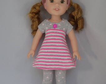 Pretty in Pink and Gray Knit Mini Doll Dress and Leggings Handmade To Fit 14.5 Inch Dolls Like Wellie Wishers