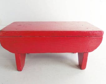 Vintage Primitive Wooden Bench, Old Red Painted Cricket Stool, Farmhouse Decor, Footstool