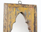Moroccan Mirror Vintage Wood Framed Mirror Reclaimed Wood Wall Art Canary Yellow and Blue