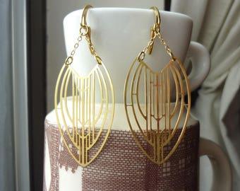 Raw Brass Geomtric Marquise Chain Earrings, Statement, Dangle, Chandelier