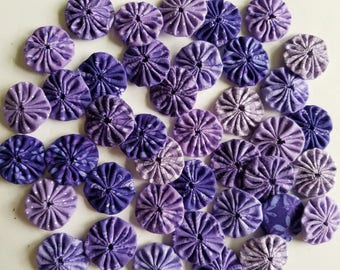 40 Assorted Purple Prints 1 inch  Fabric Miniature Yo Yos Applique Quilt Pieces Scrapbooking Embellishments
