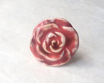 Ceramic pink flower ring diva jewelry