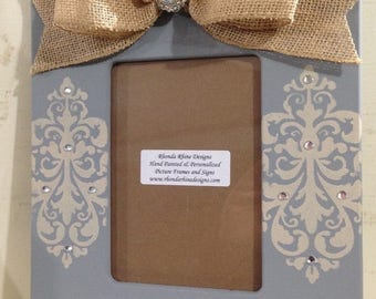 Fun Friday Sale Hand Painted Grey and Burlap Frame