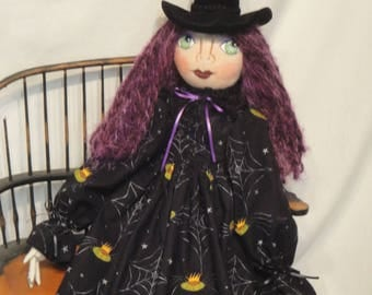 Gothic Creepy Halloween Witch Art Doll, Purple Hair Halloween witch cloth doll, Halloween collectible witch, hand made Halloween doll