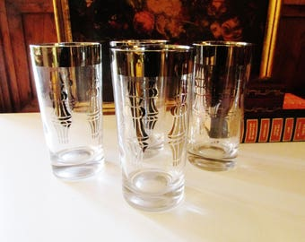 Four Vintage Silvered Hiball Glasses, Retro Barware, Hollywood Regency, Atomic Glassware, Silver Rim Glassware