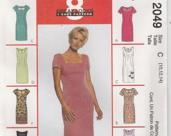 Easy Dress Pattern 8 Great Looks Back Zipper Misses Size 10 - 12 - 14 uncut McCalls 2049