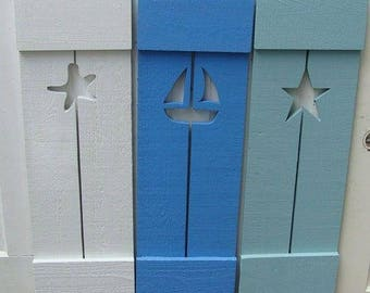 RESERVED For Tammylou2002 Custom Shutter Exterior Interior Cedar Wood Painted OR Unpainted Beach Lake Country House Shutter by CastawaysHall