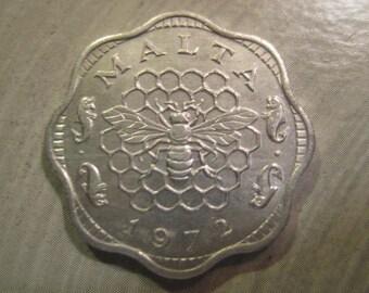 1972  Malta, 3 Mils Aluminum Coin - Honey Bee , Honeycomb, Uncirculated