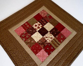 Quilted Table Topper in Earth Tones, Primitive Quilted Table Runner, Handmade Patchwork Table Quilt, Country Table Quilt in Brown Burgundy