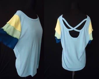 Blue Ruffled Cha Cha Sleeves vintage 1980's NOS Women's Plus Size Shirt XL 2XL 44B