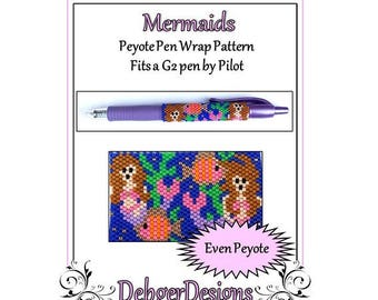Bead Pattern Peyote(Pen Wrap/Cover)-Mermaids