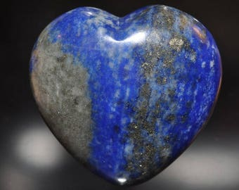 "27x27x14mm ""Premium Quality""~Natural Afghanistan Indigo Blue LAPIS LAZULI w/PYRITE Puff Heart -Reiki Energized -Palm/Pocket Stone - K1128"