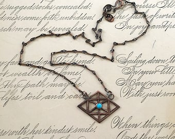 Sleeping Beauty Turquoise | Geometric Necklace | Copper Jewelry