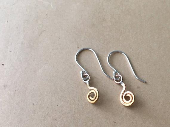 Teeny Tiny Earrings | Spiral Jewelry | Little Dangle Earrings